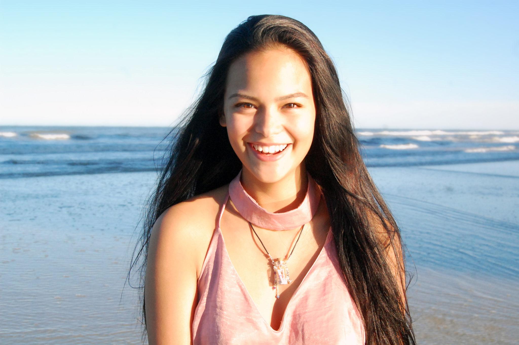 Girl Wearing Gidget's Getaways Beach in a Bottle